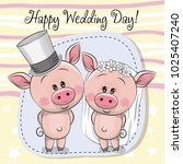 greeting card cute piggy bride... | Shutterstock .eps vector #1025407240