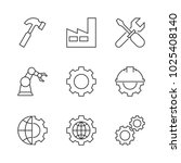 manufacturing outline icons on... | Shutterstock . vector #1025408140