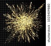 gold glitter powder explosion.... | Shutterstock .eps vector #1025409880