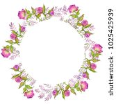 watercolor illustration  wreath ...   Shutterstock . vector #1025425939