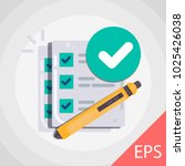 checklist with approval. vector ... | Shutterstock .eps vector #1025426038