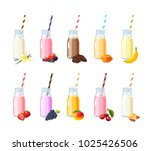 set of flavored scented milk... | Shutterstock .eps vector #1025426506