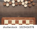 wooden draughts game on brown... | Shutterstock . vector #1025426578