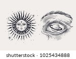 the face of the sun and the... | Shutterstock .eps vector #1025434888