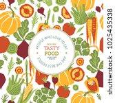 papercut style vegetables... | Shutterstock .eps vector #1025435338