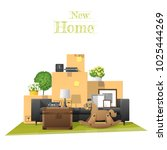 moving home concept background... | Shutterstock .eps vector #1025444269