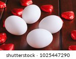 best white eggs picture with... | Shutterstock . vector #1025447290