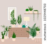 cozy room with indoor plants. | Shutterstock .eps vector #1025448703