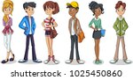 group of cartoon young people.... | Shutterstock .eps vector #1025450860