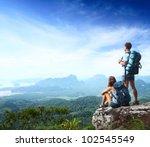 young backpackers enjoying a...   Shutterstock . vector #102545549