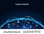 global network background.... | Shutterstock .eps vector #1025457970