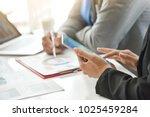 businessman and businesswoman... | Shutterstock . vector #1025459284