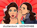 woman whispering gossip or... | Shutterstock .eps vector #1025459488