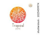 tropical plant logo. vector... | Shutterstock .eps vector #1025459974