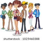 group of cartoon young people.... | Shutterstock .eps vector #1025460388