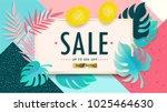 sale floral banner. paper cut... | Shutterstock .eps vector #1025464630