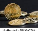 bitcoin isolated on black...   Shutterstock . vector #1025466976