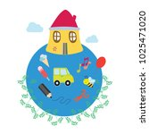 home  car  pencil  ice cream... | Shutterstock .eps vector #1025471020