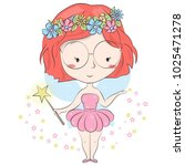 little forest fairy isolated on ... | Shutterstock .eps vector #1025471278