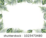 tropical frame of fern leaves | Shutterstock . vector #1025473480