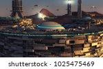 3d rendering. futuristic city... | Shutterstock . vector #1025475469