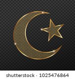 gold islam star and crescent... | Shutterstock .eps vector #1025476864