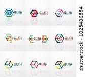 cube idea concept logo  line... | Shutterstock .eps vector #1025483554