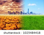 global warming   the city ... | Shutterstock . vector #1025484418