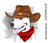 a dog in a cowboy hat. vector... | Shutterstock .eps vector #1025494129