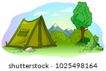 cartoon green camping tent with ... | Shutterstock .eps vector #1025498164