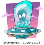 cartoon cute alien monster... | Shutterstock .eps vector #1025498176