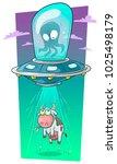 cartoon cute alien monster... | Shutterstock .eps vector #1025498179