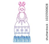 cute easter rabbit sitting on a ...   Shutterstock .eps vector #1025500828