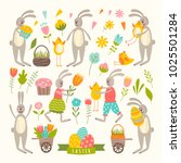 set of cute easter cartoon...   Shutterstock .eps vector #1025501284