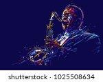 jazz saxophone player. vector... | Shutterstock .eps vector #1025508634