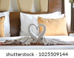 two swans made of towels... | Shutterstock . vector #1025509144