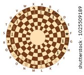 round brown chessboard for... | Shutterstock .eps vector #1025509189