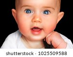cute child isolated on black... | Shutterstock . vector #1025509588