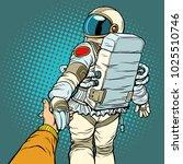 astronaut space travel follow... | Shutterstock .eps vector #1025510746