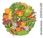 poster with vegetables | Shutterstock . vector #1025511100