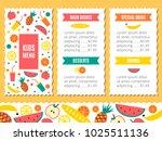 kids menu template | Shutterstock . vector #1025511136