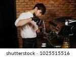 barista pouring milk  ... | Shutterstock . vector #1025515516
