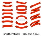 red flat vector ribbons banners ...   Shutterstock .eps vector #1025516563