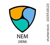 colorful nem cryptocurrency...   Shutterstock .eps vector #1025518123