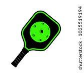 pickleball racket illustration | Shutterstock .eps vector #1025519194