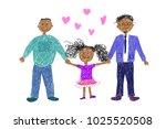 lgbt family. children's drawing.... | Shutterstock .eps vector #1025520508