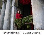 brunette plus size model at red ... | Shutterstock . vector #1025529046