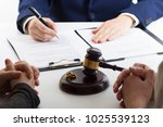 hands of wife  husband signing... | Shutterstock . vector #1025539123