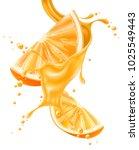 juice splash with orange slice... | Shutterstock .eps vector #1025549443