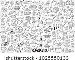 cookery doodle set | Shutterstock .eps vector #1025550133